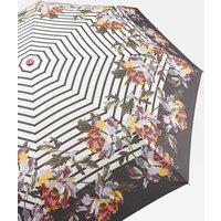 Black Stripe Peony Floral Heritage Peony Border Stripe Minilite Compact Umbrella