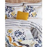 Navy Gold Floral Galley Grade Floral Cotton Duvet Cover  Size Kingsize