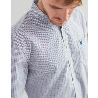 BROWN BLUE GINGHAM Hewney Classic Fit Peached Poplin Shirt  Size M