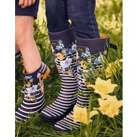 Navy Botanical Printed Wellies With Adjustable Back Gusset  Size Adult 6