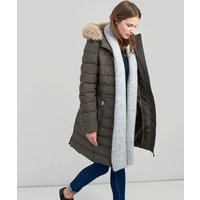 Sefton Water Resistant Longline Padded Jacket with Faux Fur Hood Trim