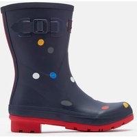 Navy Multi Spot Molly Mid Height Printed Wellies  Size Adult 5