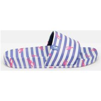 Blue Stripe Poolside Pu Sliders  Size Adult 6