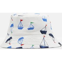 WHITE DRAWN BOATS Brit Reversible Bucket Hat  Size 0m-6m