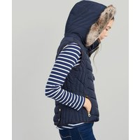 MARINE NAVY Maybury Chevron Quilted Padded Gilet with Hood  Size 18