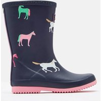 Navy Horses Roll Up Wellies  Size Childrens 1