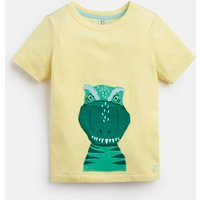 YELLOW DINO Chomper Applique T-Shirt 1-6yr  Size 4yr