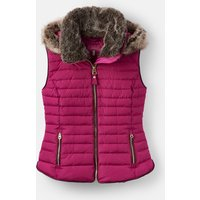 204164 Padded Gilet With Faux Fur Hood Trim