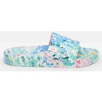 White Floral Poolside Pu Sliders  Size Adult 6