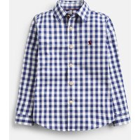 NAVY GINGHAM 203949 Linen Gingham Shirt  Size 6yr