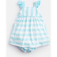 AQUA WHITE STRIPE Penny Jersey Dress And Knickers Set  Size 3m-6m