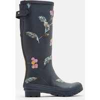 Grey Swanton Floral Printed Wellies With Adjustable Back Gusset  Size Adult 5