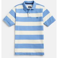 CREME AND LIGHT BLUE STRIPE 204564 Striped Pique Polo   Size M