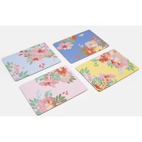 BLUE FLORAL MULTI Kitchen placemats Set Of 4 Cork-Backed  Size One Size