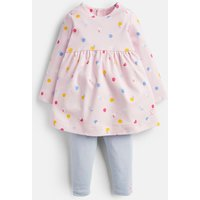Pink Apple Spot Christina Dress And Leggings Set  Size 12M-18M