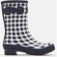 Navy Rose Gingham Molly Mid Height Printed Wellies  Size Adult 7