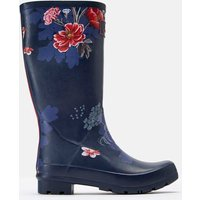 Navy Floral Roll Up Wellies  Size Adult 6
