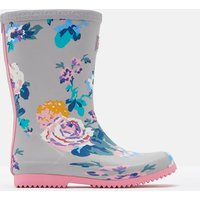 Grey Floral Roll Up Wellies  Size Childrens 13