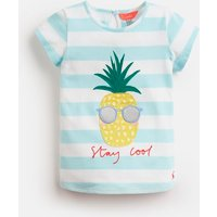 Aqua Stripe Pineapple Maggie Jersey Applique T-Shirt 1-6Yr  Size 2Yr