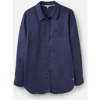 French Navy 205527 Plain Linen Long Line Shirt  Size 10