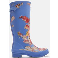 BLUE FLORAL Printed wellies With Adjustable Back Gusset  Size Adult 5