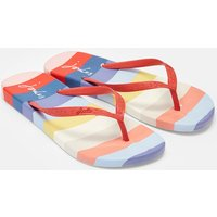 White Multi Stripe Flip Flops  Size Adult 6