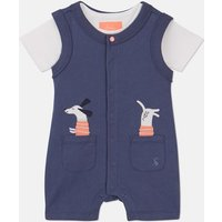 Blue Pocket Dog Jonah Luxe Applique Romper Set  Size 6M-9M