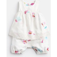 White Fairy Floral Uma Mock Layer Printed Babygrow  Size 9M-12M