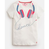 CREAM HEADPHONES Astra JERSEY APPLIQUE TOP 3-12yr  Size 7yr-8yr
