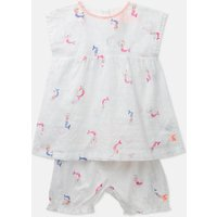 White Mini Mermaids Edith Woven Top And Shorts Set  Size 9M-12M