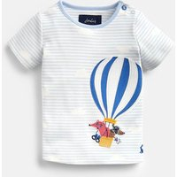 Blue Stripe Hot Air Balloon Jack Applique Top  Size 3M-6M