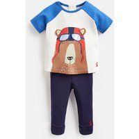 Blue Pilot Bear Mack Screenprint Top And Trouser Set  Size 9M-12M