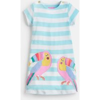 Aqua Stripe Toucan Kaye Short Sleeve Jersey Applique Dress 1-6 Yr  Size 6Yr