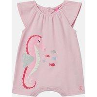 Pink Seahorse Ria Luxe Screenprint Romper  Size 3M-6M