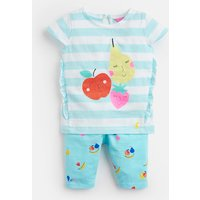 Aqua Stripe Fruit Paula Jersey Top And Legging Set  Size 0M-3M