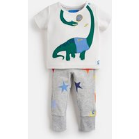 White Grey Dino Doodle Jersey Applique Top And Trouser Set  Size 6M-9M