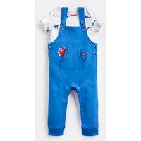 Blue Dino Pocket Wilbur Dungarees Set  Size 18M-24M