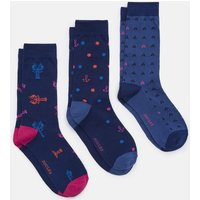 Blue Coastal Striking Socks Three Pack  Size 7-12
