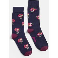 Navy Peony Brilliant Bamboo Single Socks