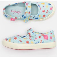 BLUE JUMBLE DITSY Funday Canvas Strap Pumps  Size Childrens 13