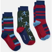 Rugby Multi Striking 3 Pack Ankle Sock Set  Size Adult 7-12
