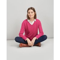 PINK Darwin V-Neck Jumper With Centre Back Stripe  Size 14