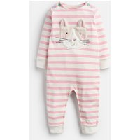 Pink Stripe Cat Gracie Applique Babygrow  Size 9M-12M