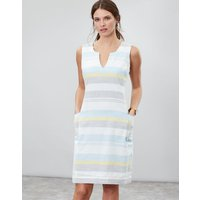 Blue Grey Lemon Stripe Elayna Shift Dress  Size 8