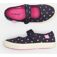 Navy Small Spot Funday Canvas Strap Pumps  Size Childrens 13