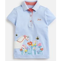 BLUE HORSE FLOWERS Moxie Applique Polo Shirt 1-12yr  Size 6yr