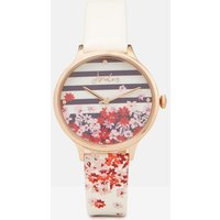 White Floral Stripe Ambleside White Floral Womens Printed Strap Watch  Size One Size