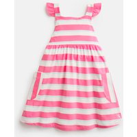 Bright Pink White Stripe Tyler Jersey Dress With Woven Frill 1-6 Yr  Size 2Yr