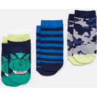 Navy Dino Eat Feet Shorty 3Pk Trainer Socks  Size Childrens 9-12