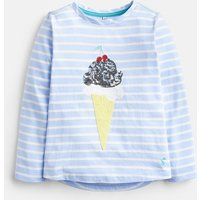 SKY BLUE AND CREME STRIPE 205340 Long Sleeve Jersey Top  Size 7yr-8yr
